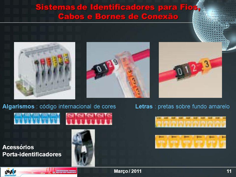 Março / 201111 Sistemasde Identificadores para Fios, Sistemas de Identificadores para Fios, Cabos e Bornes de Conexão Letras : pretas sobre fundo amar