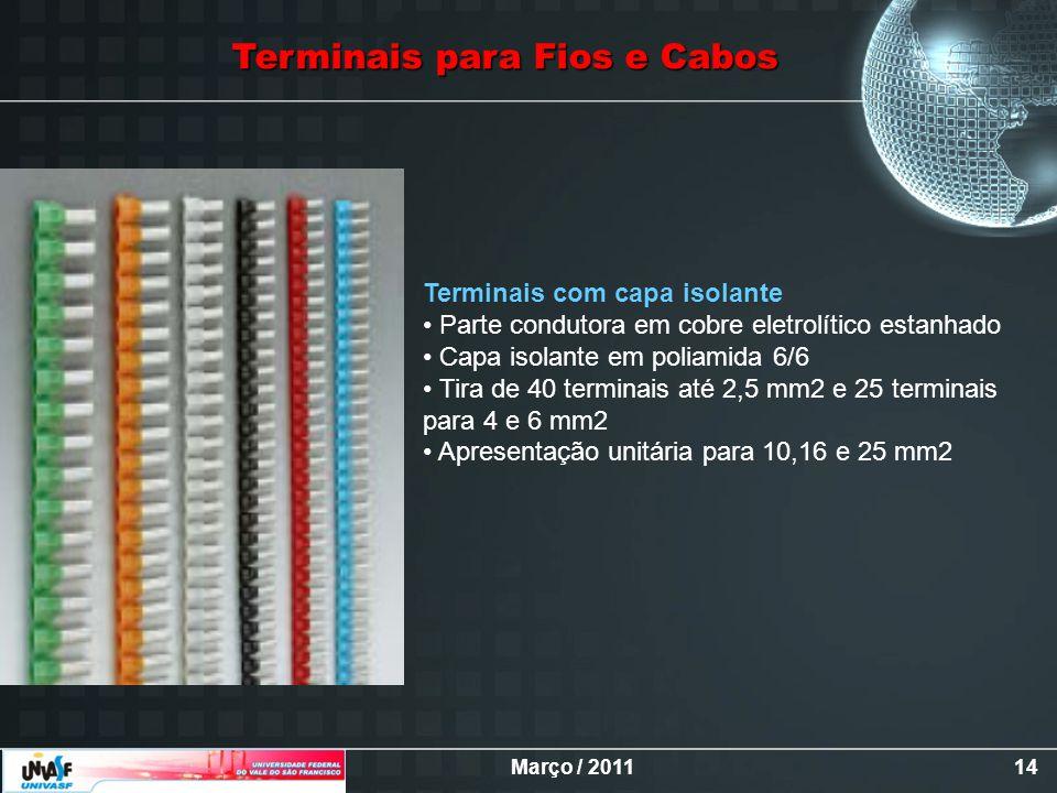 Março / 201114 Terminais para Fios e Cabos Terminais com capa isolante Parte condutora em cobre eletrolítico estanhado Capa isolante em poliamida 6/6