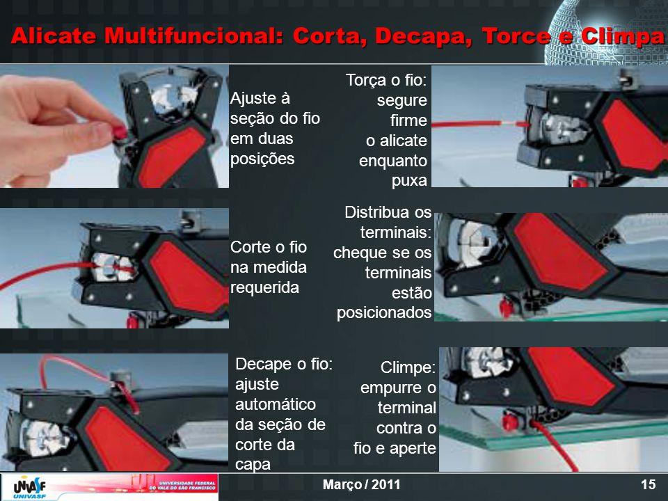 Março / 201115 Alicate Multifuncional: Corta, Decapa, Torce e Climpa Ajuste à seção do fio em duas posições Corte o fio na medida requerida Decape o f
