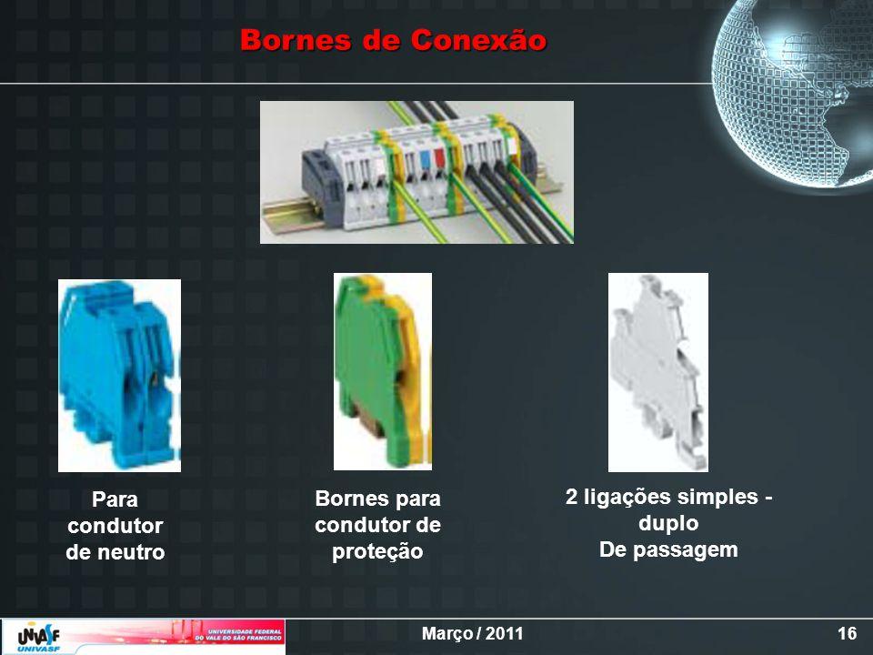 Março / 201116 Bornes de Conexão Bornes para condutor de proteção Para condutor de neutro 2 ligações simples - duplo De passagem