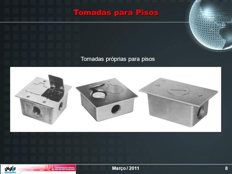 Março / 20118 Tomadas próprias para pisos Tomadas para Pisos