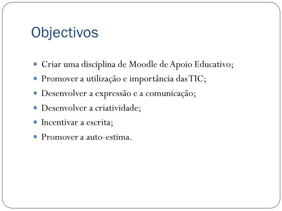 Objectivos Criar uma disciplina de Moodle de Apoio Educativo; Promover a utilização e importância das TIC; Desenvolver a expressão e a comunicação; De
