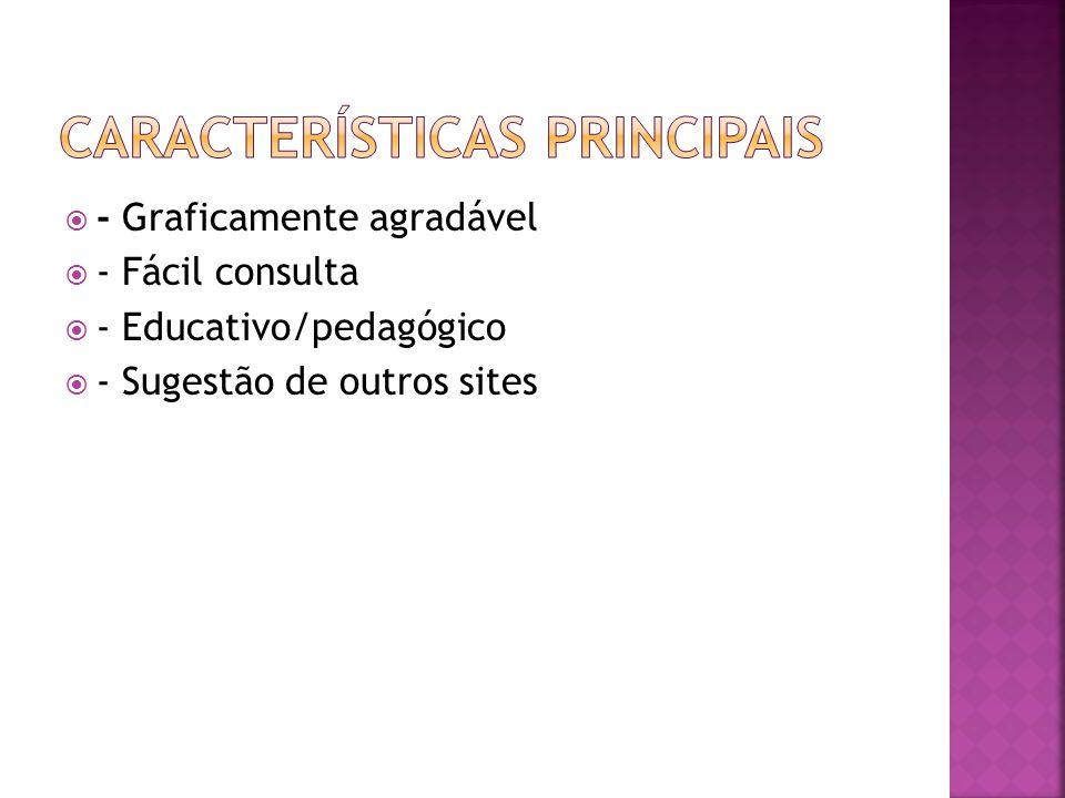 - Graficamente agradável - Fácil consulta - Educativo/pedagógico - Sugestão de outros sites
