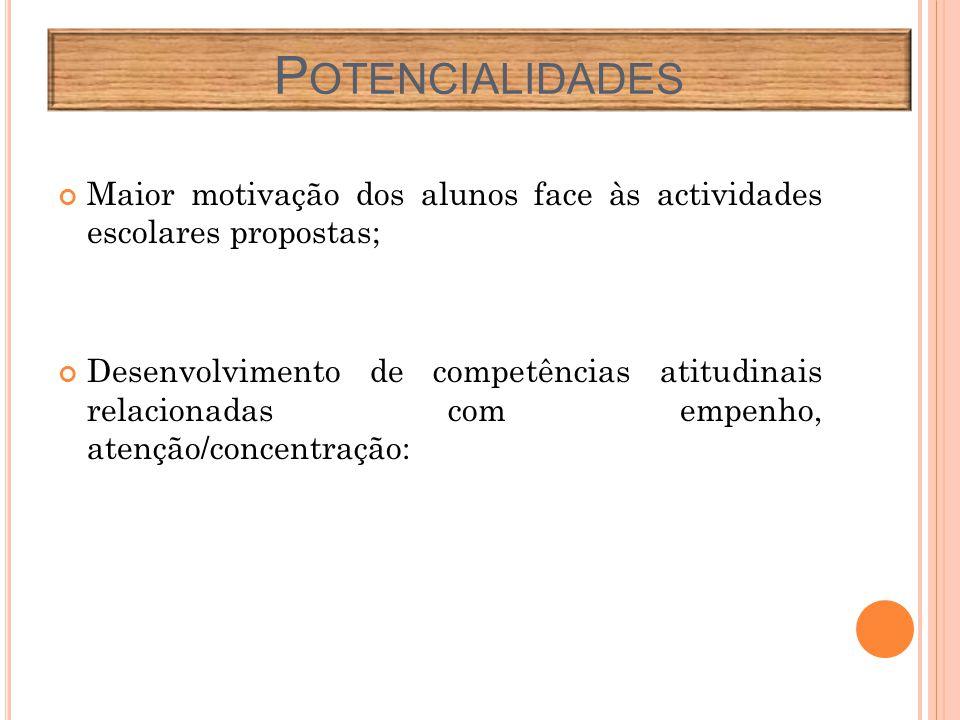 Maior motivação dos alunos face às actividades escolares propostas; Desenvolvimento de competências atitudinais relacionadas com empenho, atenção/concentração: P OTENCIALIDADES