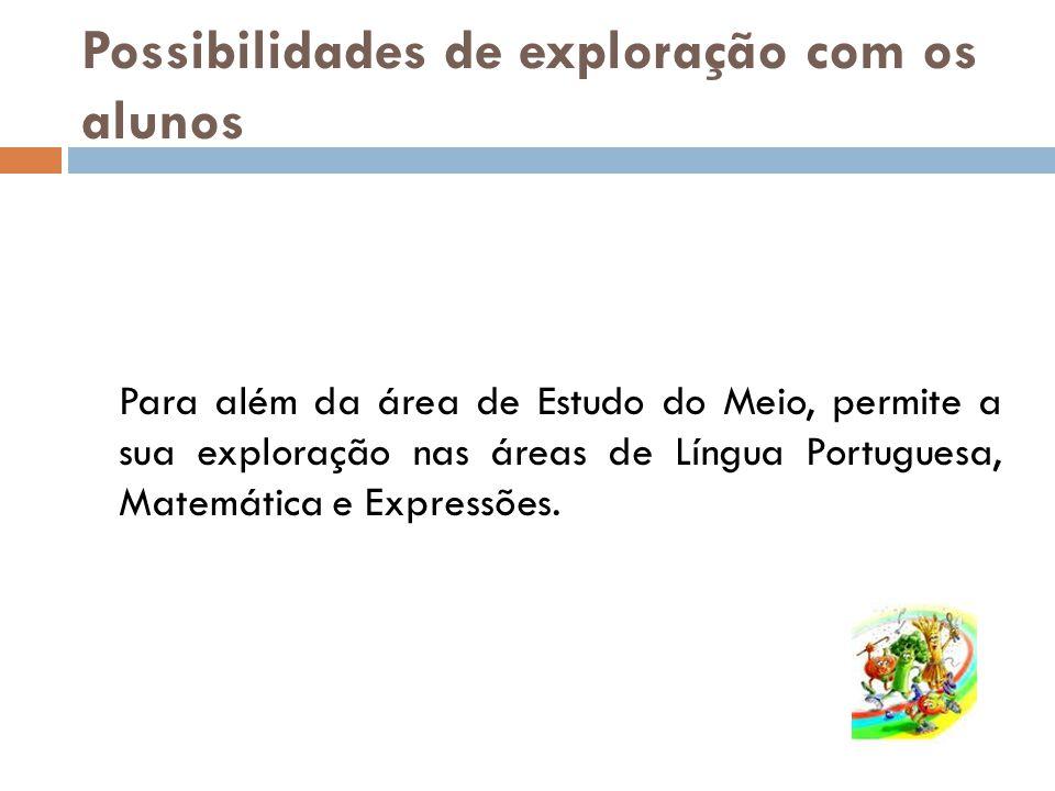 Possibilidades de exploração com os alunos Para além da área de Estudo do Meio, permite a sua exploração nas áreas de Língua Portuguesa, Matemática e