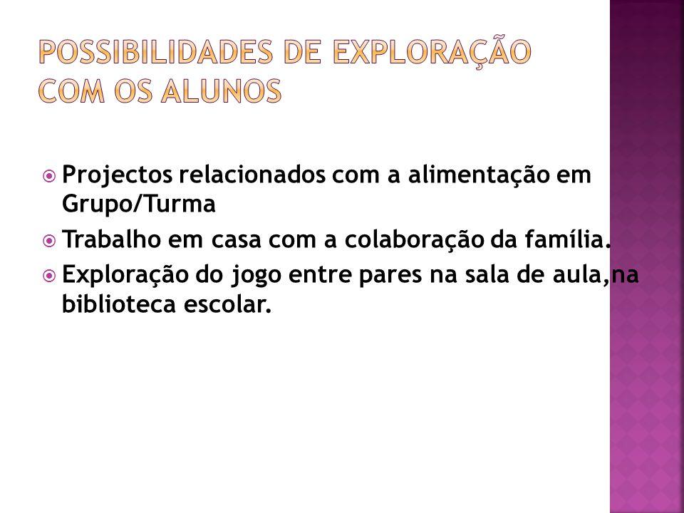 Projectos relacionados com a alimentação em Grupo/Turma Trabalho em casa com a colaboração da família.