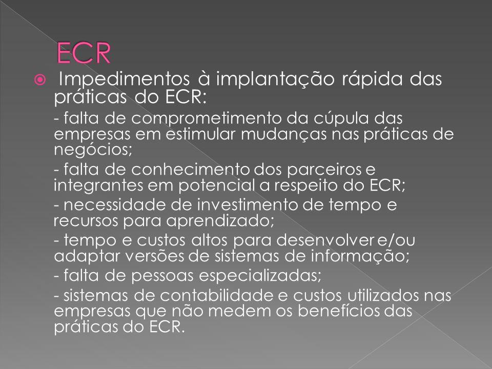 Impedimentos à implantação rápida das práticas do ECR: - falta de comprometimento da cúpula das empresas em estimular mudanças nas práticas de negócio