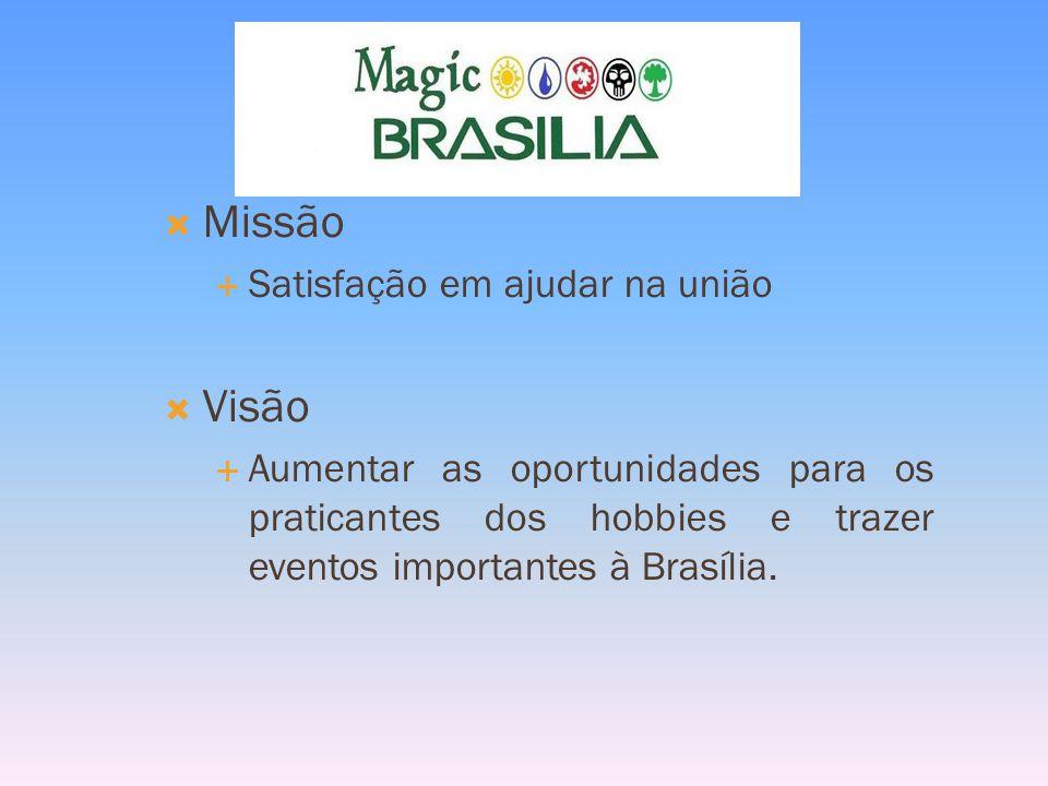 Missão Satisfação em ajudar na união Visão Aumentar as oportunidades para os praticantes dos hobbies e trazer eventos importantes à Brasília.