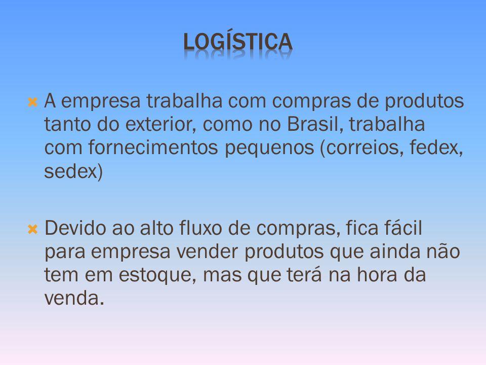 A empresa trabalha com compras de produtos tanto do exterior, como no Brasil, trabalha com fornecimentos pequenos (correios, fedex, sedex) Devido ao alto fluxo de compras, fica fácil para empresa vender produtos que ainda não tem em estoque, mas que terá na hora da venda.