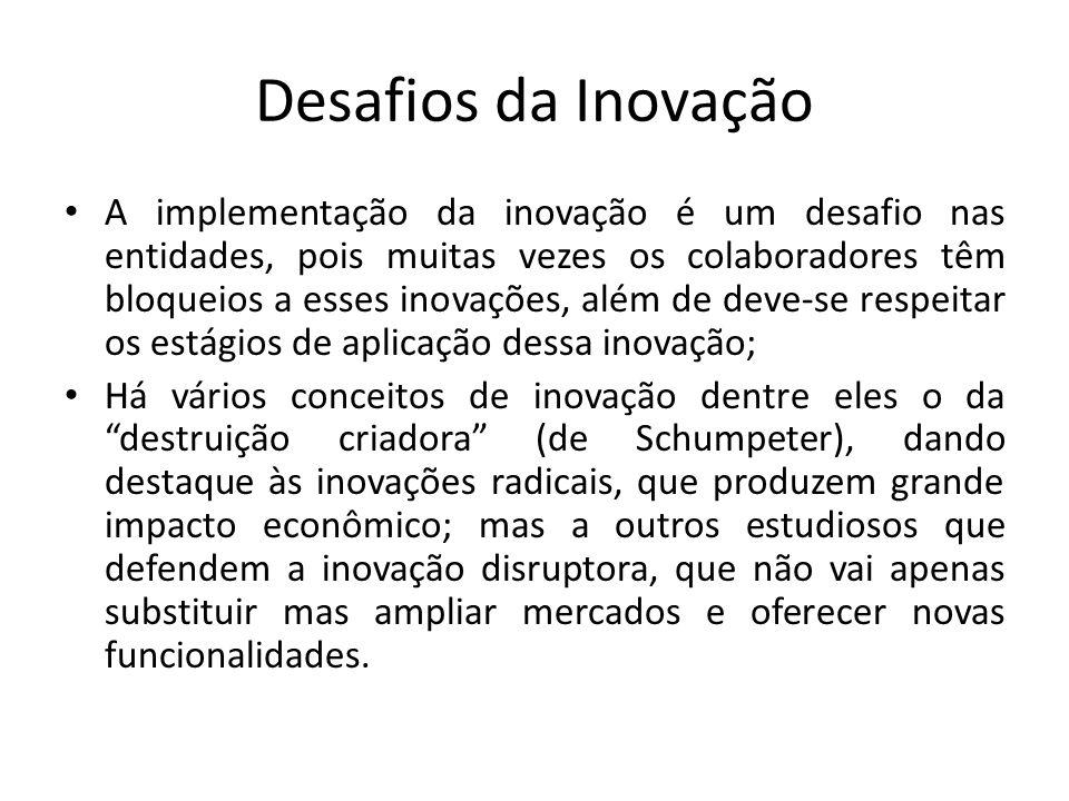 Desafios da Inovação A implementação da inovação é um desafio nas entidades, pois muitas vezes os colaboradores têm bloqueios a esses inovações, além