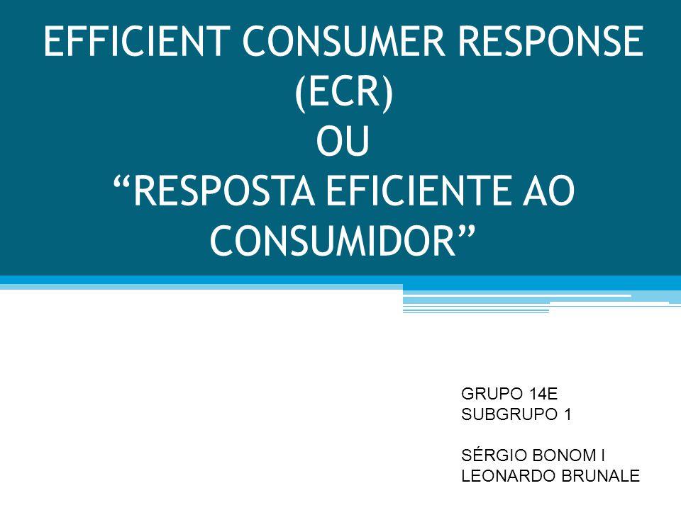 EFFICIENT CONSUMER RESPONSE (ECR) OU RESPOSTA EFICIENTE AO CONSUMIDOR GRUPO 14E SUBGRUPO 1 SÉRGIO BONOM I LEONARDO BRUNALE