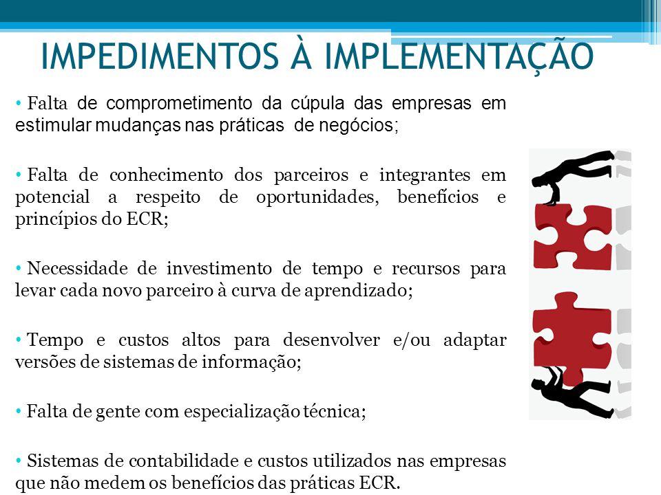 IMPEDIMENTOS À IMPLEMENTAÇÃO Falta de comprometimento da cúpula das empresas em estimular mudanças nas práticas de negócios; Falta de conhecimento dos
