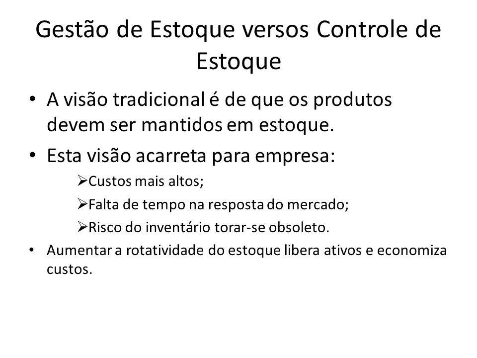 Gestão de Estoque versos Controle de Estoque A visão tradicional é de que os produtos devem ser mantidos em estoque.