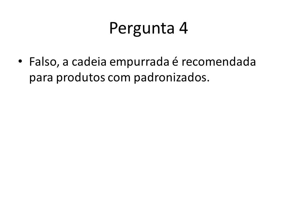 Pergunta 4 Falso, a cadeia empurrada é recomendada para produtos com padronizados.