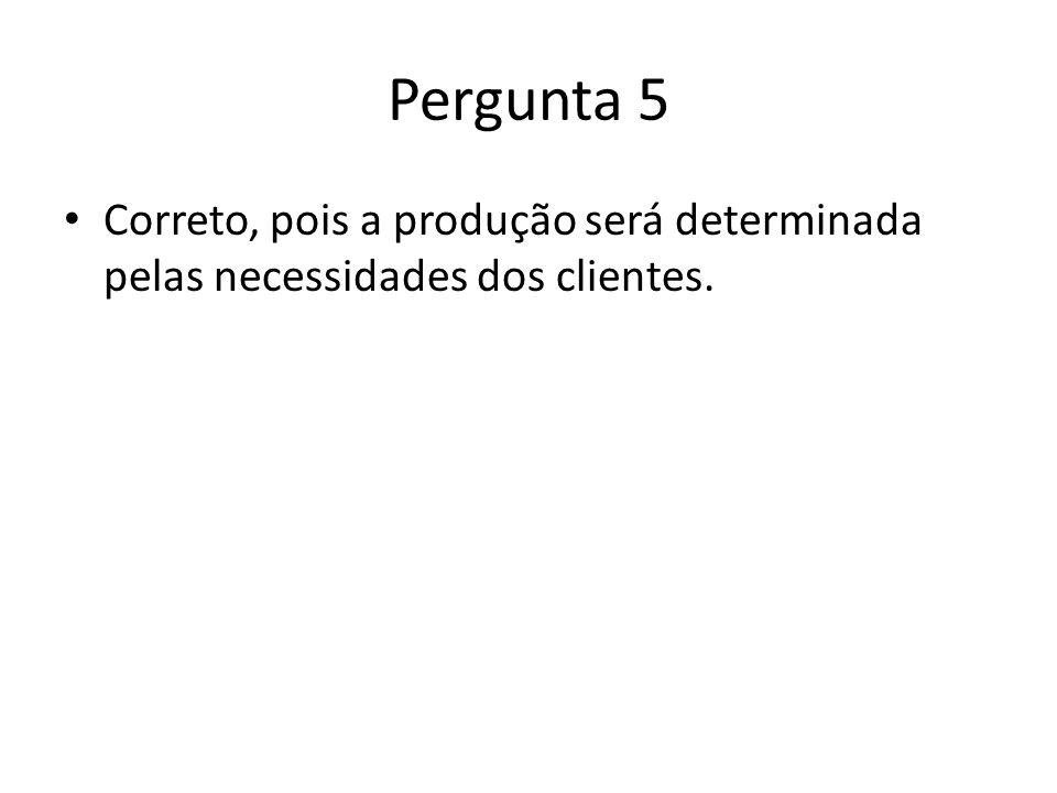 Pergunta 5 Correto, pois a produção será determinada pelas necessidades dos clientes.
