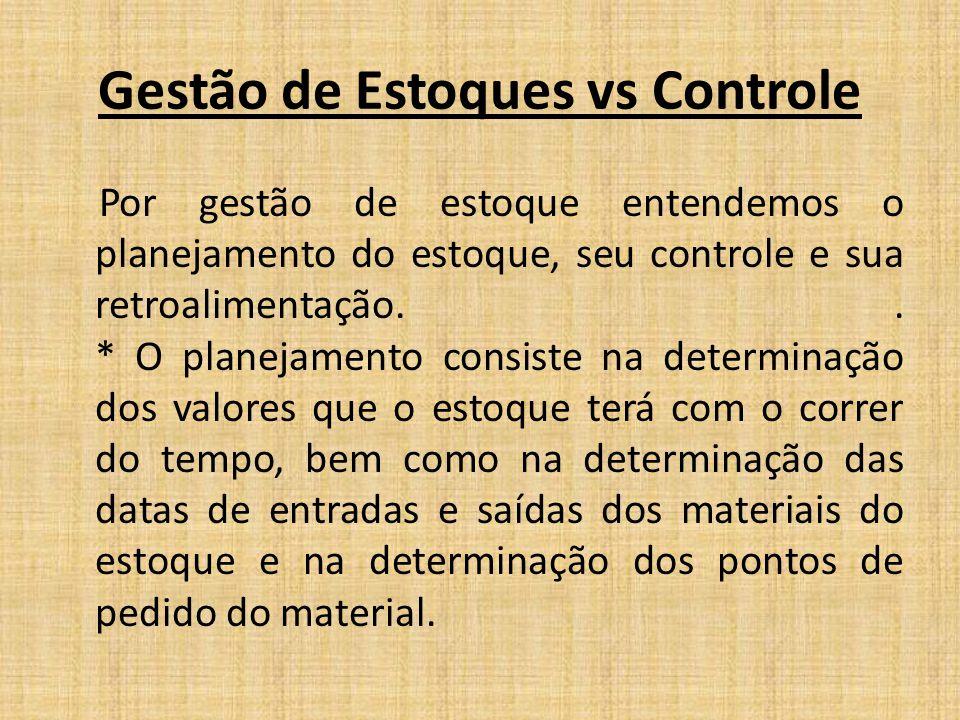 Gestão de Estoques vs Controle Por gestão de estoque entendemos o planejamento do estoque, seu controle e sua retroalimentação.. * O planejamento cons