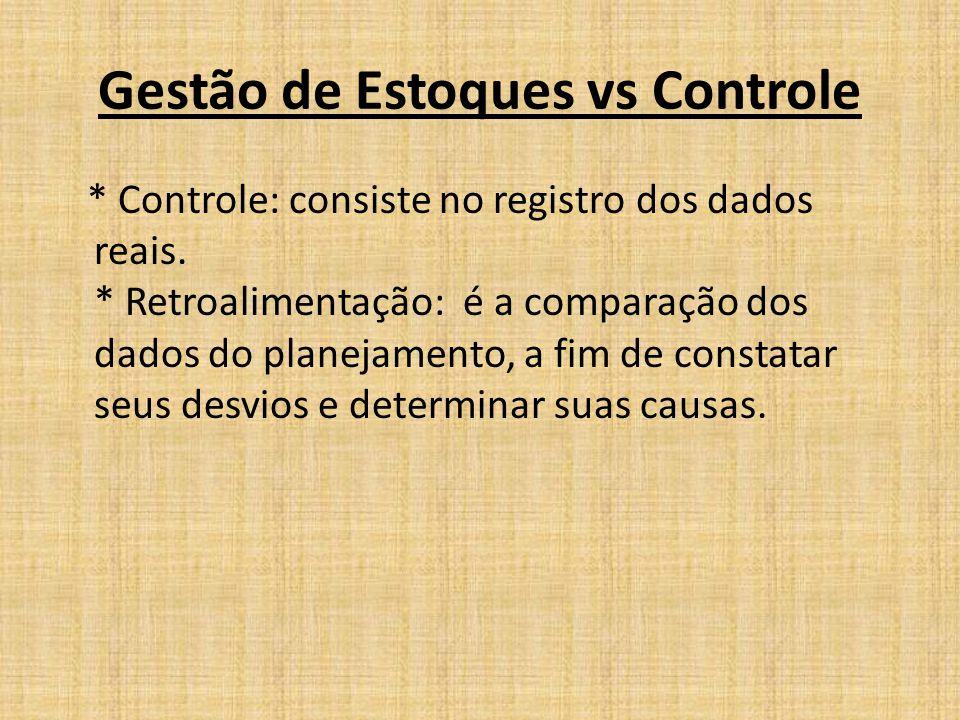 Gestão de Estoques vs Controle * Controle: consiste no registro dos dados reais. * Retroalimentação: é a comparação dos dados do planejamento, a fim d