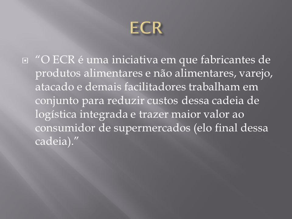 O ECR é uma iniciativa em que fabricantes de produtos alimentares e não alimentares, varejo, atacado e demais facilitadores trabalham em conjunto para