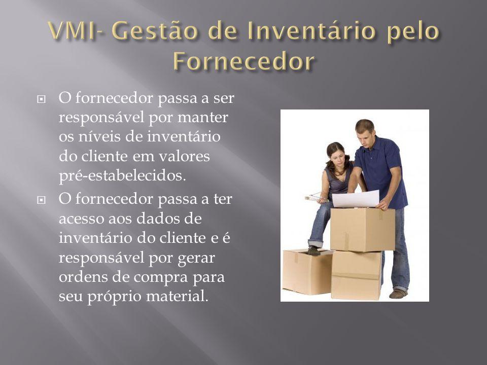 O fornecedor passa a ser responsável por manter os níveis de inventário do cliente em valores pré-estabelecidos. O fornecedor passa a ter acesso aos d