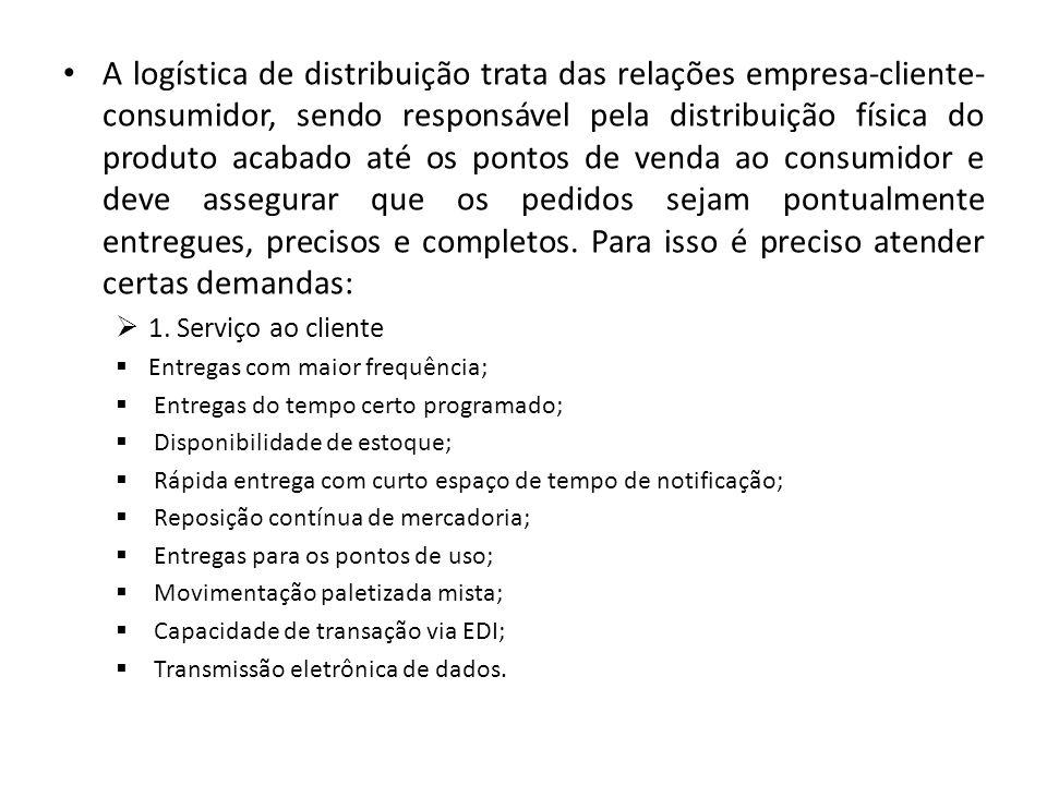A logística de distribuição trata das relações empresa-cliente- consumidor, sendo responsável pela distribuição física do produto acabado até os ponto