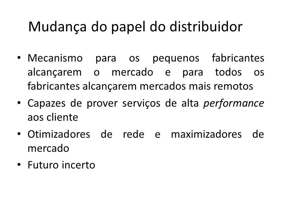 Mudança do papel do distribuidor Mecanismo para os pequenos fabricantes alcançarem o mercado e para todos os fabricantes alcançarem mercados mais remo