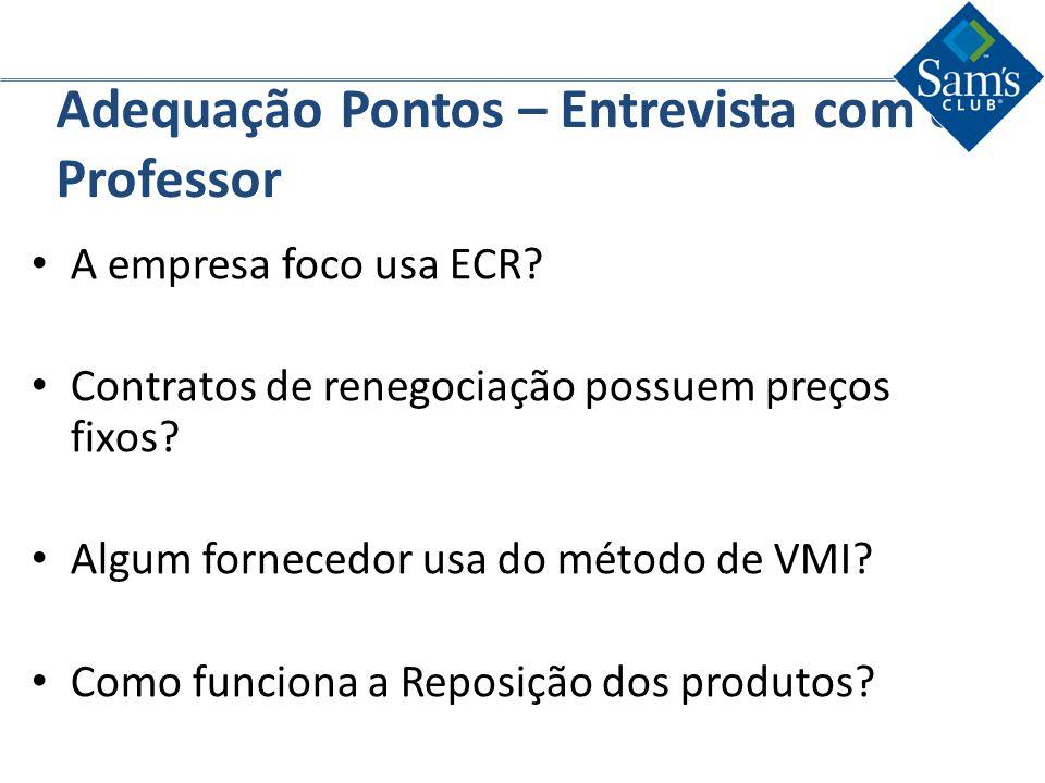 Adequação Pontos – Entrevista com o Professor A empresa foco usa ECR? Contratos de renegociação possuem preços fixos? Algum fornecedor usa do método d