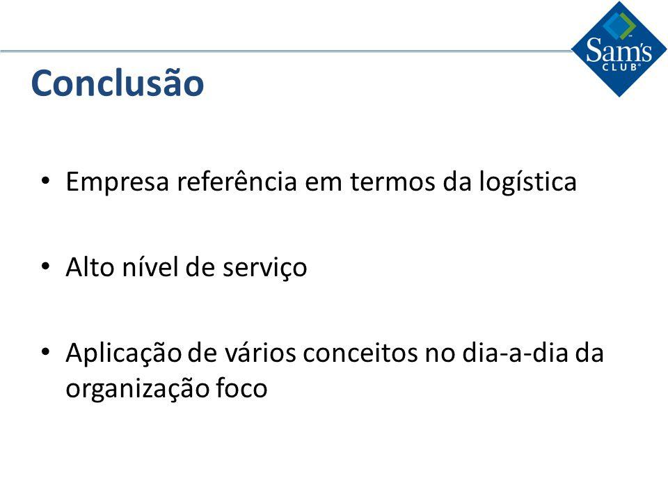 Conclusão Empresa referência em termos da logística Alto nível de serviço Aplicação de vários conceitos no dia-a-dia da organização foco