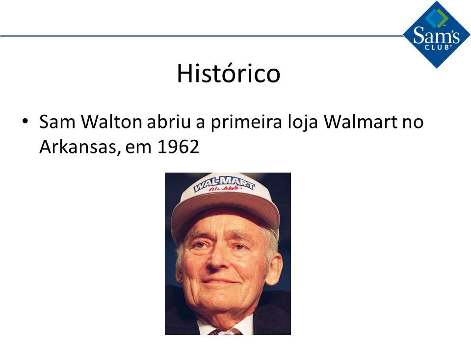 Histórico Em 1979 a Walmart foi a primeira companhia a alcançar US$ 1 bilhão em vendas em um período de tempo tão curto O primeiro Sams Club foi aberto em 1983.