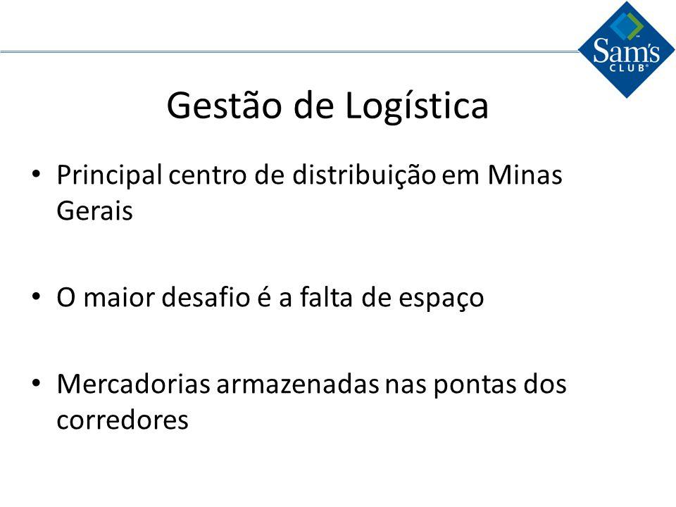 Gestão de Logística Principal centro de distribuição em Minas Gerais O maior desafio é a falta de espaço Mercadorias armazenadas nas pontas dos corred