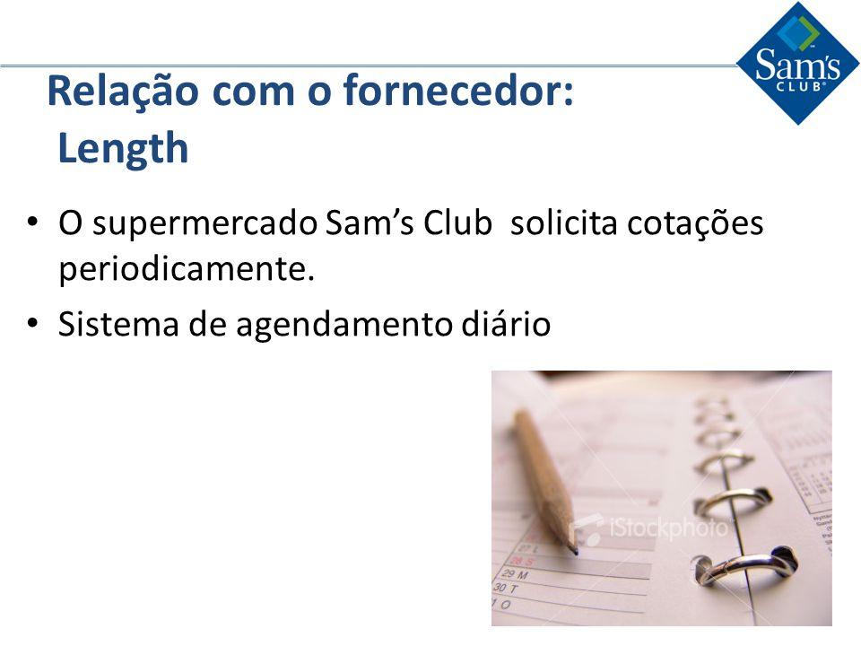 Relação com o fornecedor: Length O supermercado Sams Club solicita cotações periodicamente. Sistema de agendamento diário
