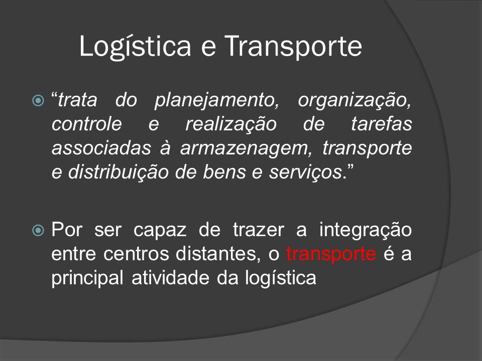 Logística e Transporte trata do planejamento, organização, controle e realização de tarefas associadas à armazenagem, transporte e distribuição de ben