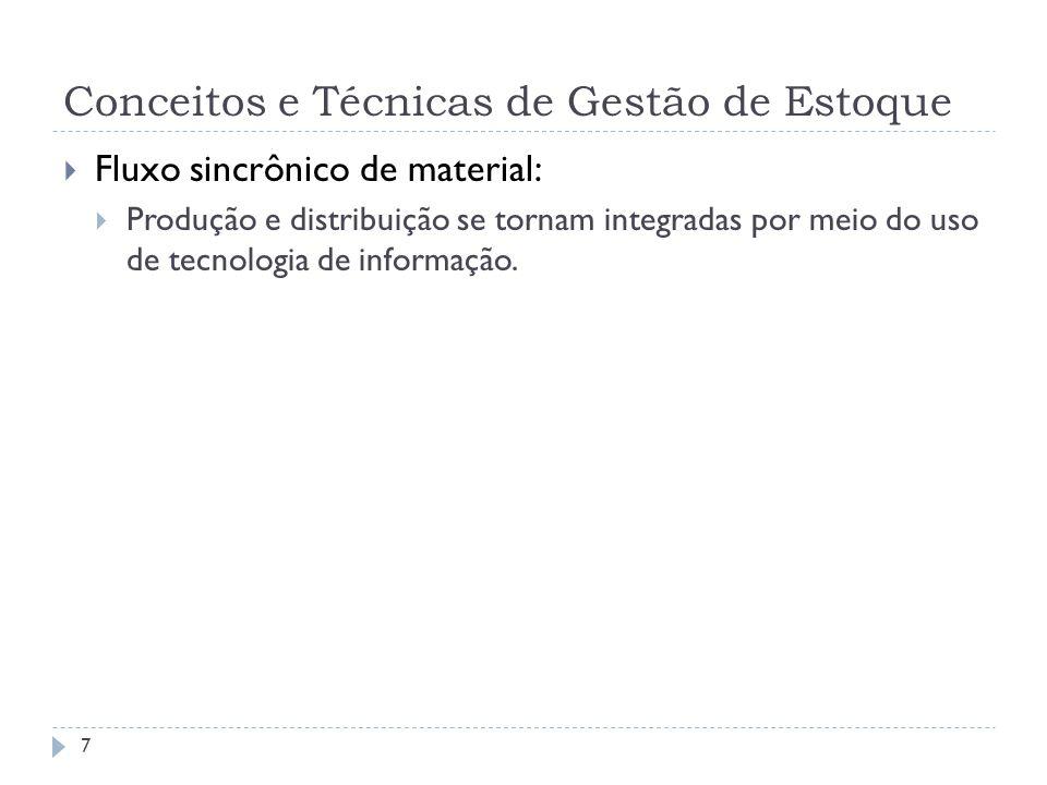 Conceitos e Técnicas de Gestão de Estoque Fluxo sincrônico de material: Produção e distribuição se tornam integradas por meio do uso de tecnologia de informação.
