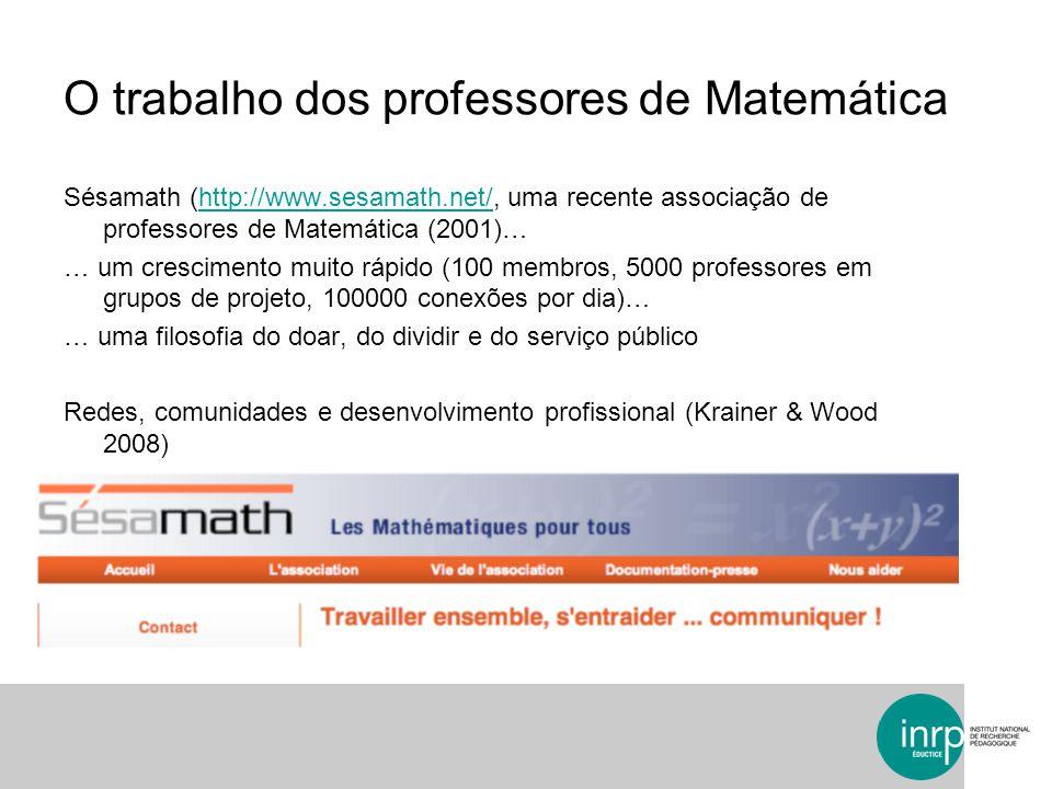 O trabalho dos professores de Matemática Sésamath (http://www.sesamath.net/, uma recente associação de professores de Matemática (2001)…http://www.ses