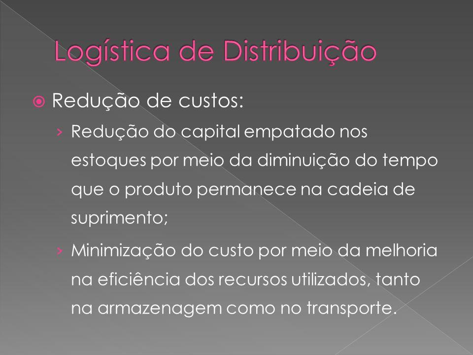 Redução de custos: Redução do capital empatado nos estoques por meio da diminuição do tempo que o produto permanece na cadeia de suprimento; Minimizaç
