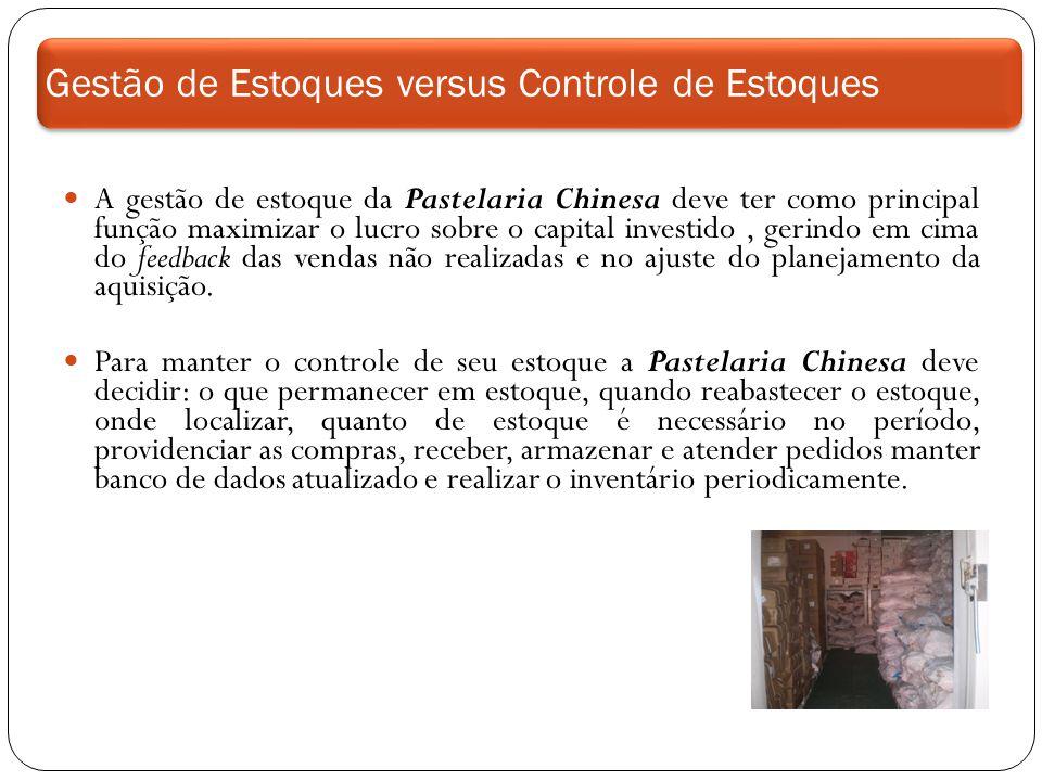 Gestão de Estoques versus Controle de Estoques A gestão de estoque da Pastelaria Chinesa deve ter como principal função maximizar o lucro sobre o capi