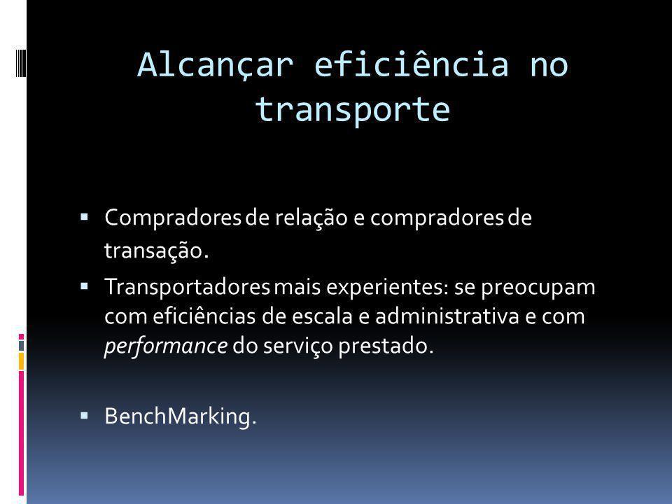 Alcançar eficiência no transporte Compradores de relação e compradores de transação. Transportadores mais experientes: se preocupam com eficiências de