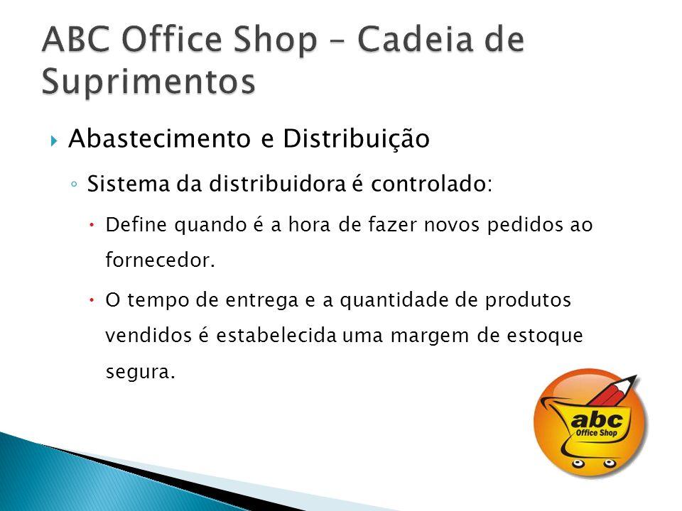 Abastecimento e Distribuição Sistema da distribuidora é controlado: Define quando é a hora de fazer novos pedidos ao fornecedor.