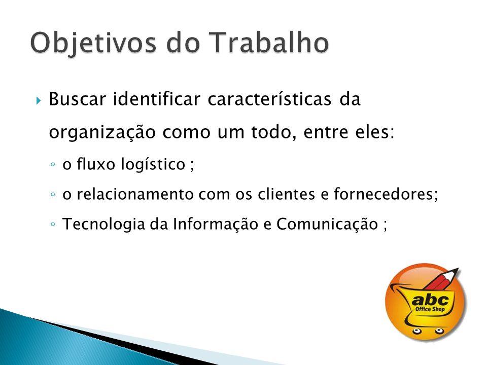 Buscar identificar características da organização como um todo, entre eles: o fluxo logístico ; o relacionamento com os clientes e fornecedores; Tecno