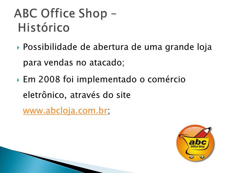 Possibilidade de abertura de uma grande loja para vendas no atacado; Em 2008 foi implementado o comércio eletrônico, através do site www.abcloja.com.br; www.abcloja.com.br