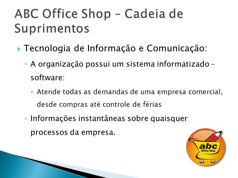 Tecnologia de Informação e Comunicação: A organização possui um sistema informatizado – software: Atende todas as demandas de uma empresa comercial, desde compras até controle de férias Informações instantâneas sobre quaisquer processos da empresa.