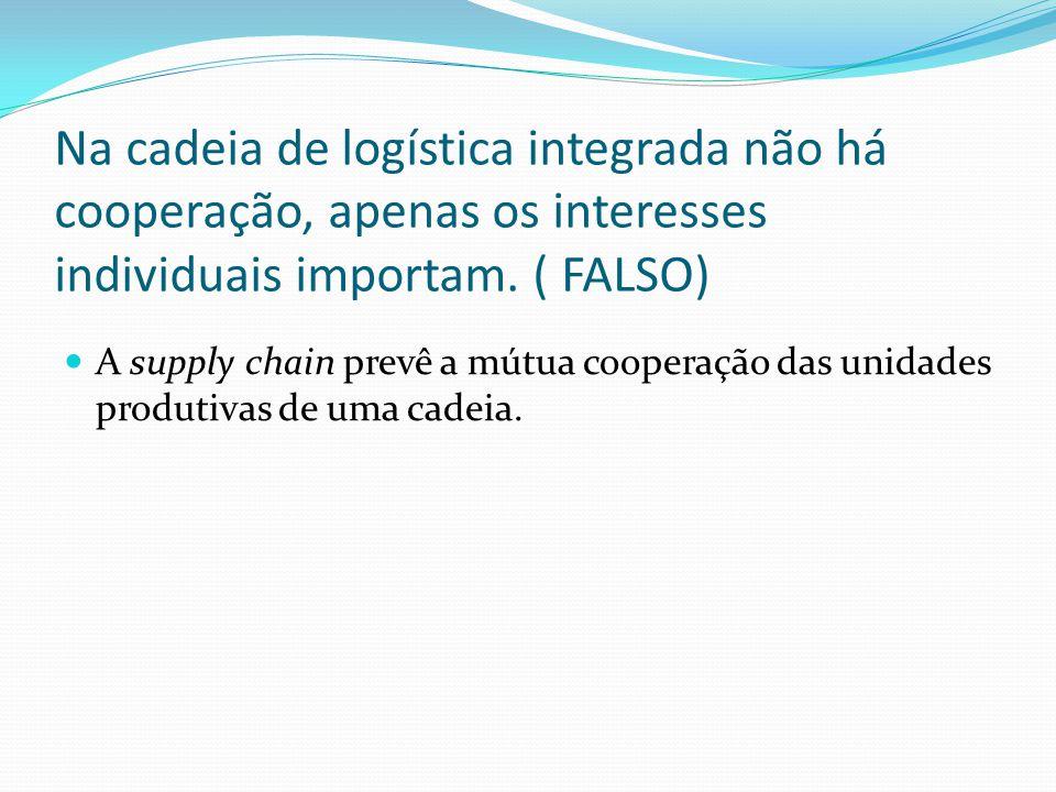 Na cadeia de logística integrada não há cooperação, apenas os interesses individuais importam.