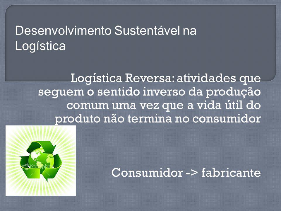 Logística Reversa: atividades que seguem o sentido inverso da produção comum uma vez que a vida útil do produto não termina no consumidor Consumidor -> fabricante Desenvolvimento Sustentável na Logística