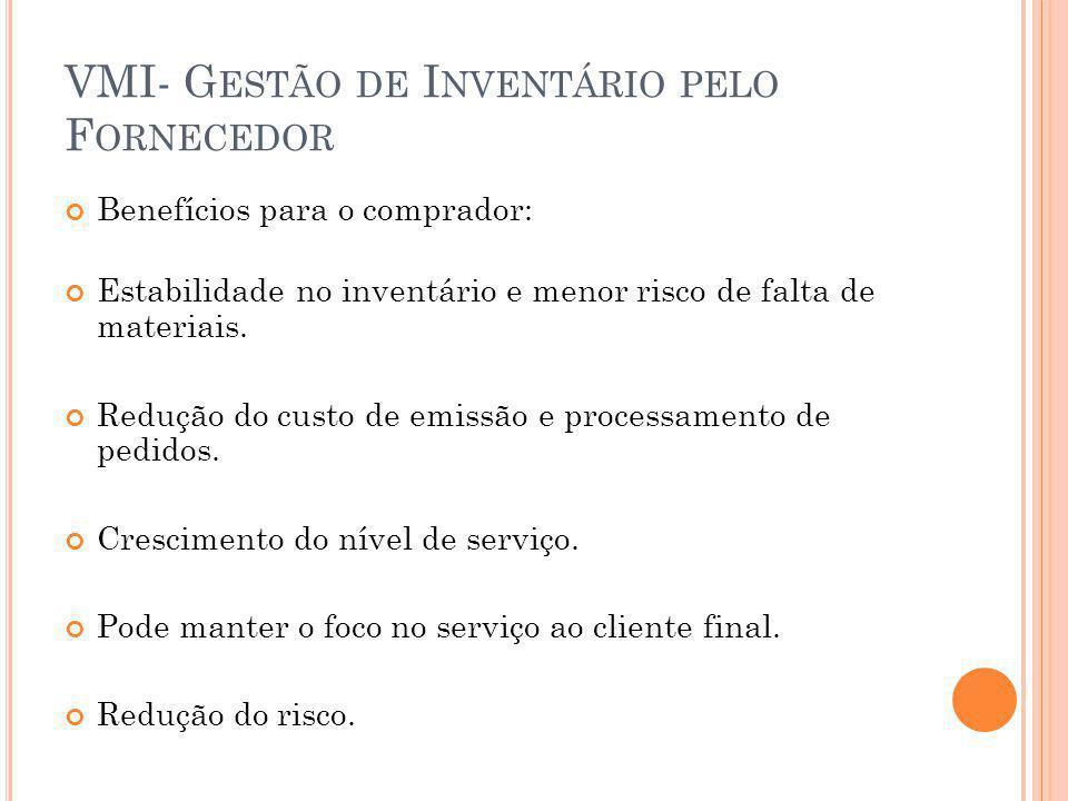 VMI- G ESTÃO DE I NVENTÁRIO PELO F ORNECEDOR Benefícios para o comprador: Estabilidade no inventário e menor risco de falta de materiais. Redução do c