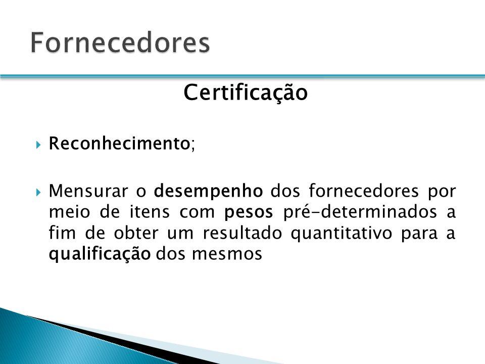 Certificação Reconhecimento; Mensurar o desempenho dos fornecedores por meio de itens com pesos pré-determinados a fim de obter um resultado quantitativo para a qualificação dos mesmos