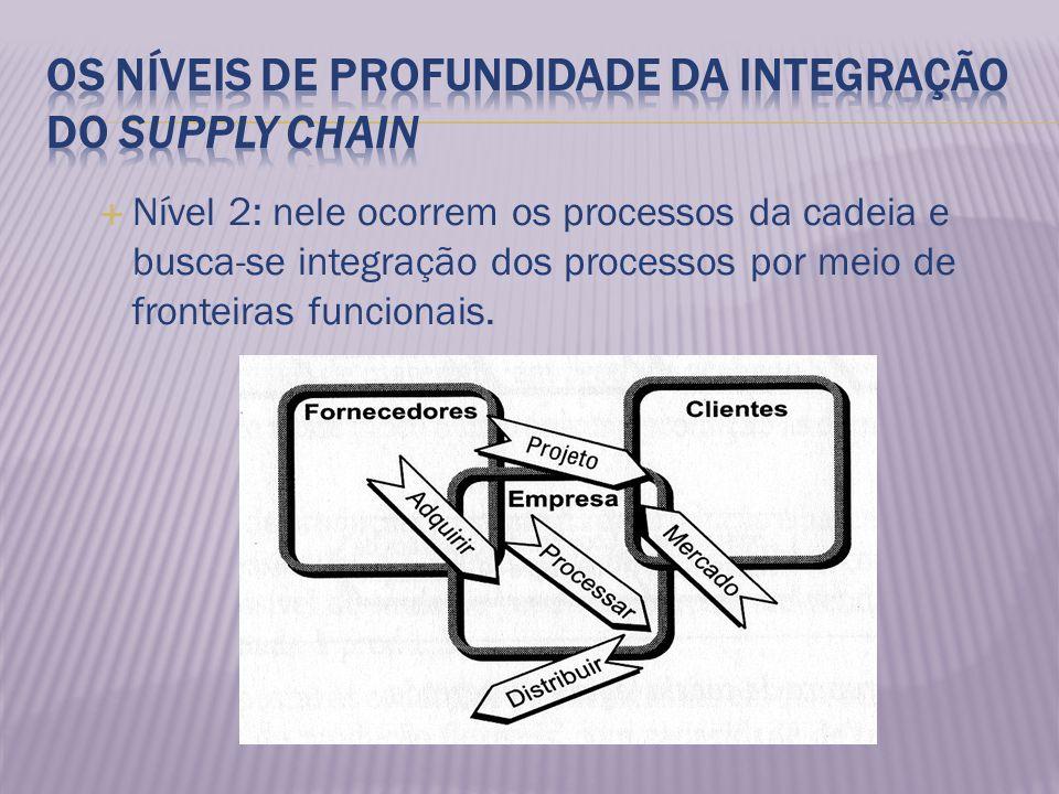 Nível 2: nele ocorrem os processos da cadeia e busca-se integração dos processos por meio de fronteiras funcionais.
