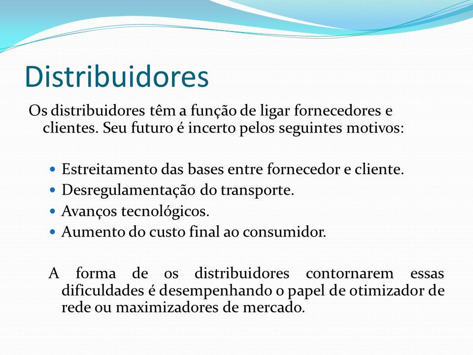 Distribuidores Os distribuidores têm a função de ligar fornecedores e clientes. Seu futuro é incerto pelos seguintes motivos: Estreitamento das bases