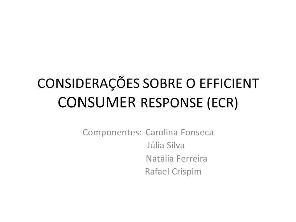 O ECR Conceito: iniciativa em que fabricantes de produtos alimentares e não alimentares, varejo, atacado e demais facilitadores trabalham em conjunto para reduzir custos dessa cadeia logística integrada e trazer mais valor ao consumidor de supermercados.