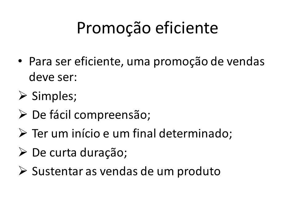 Promoção eficiente Para ser eficiente, uma promoção de vendas deve ser: Simples; De fácil compreensão; Ter um início e um final determinado; De curta