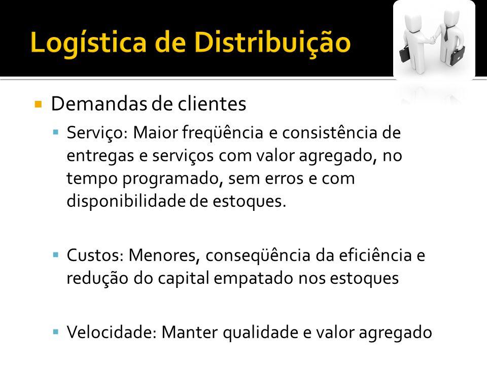 Demandas de clientes Serviço: Maior freqüência e consistência de entregas e serviços com valor agregado, no tempo programado, sem erros e com disponib