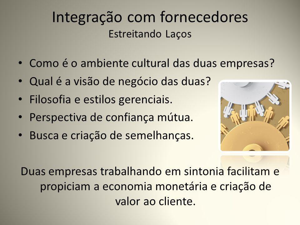 Integração com fornecedores Estreitando Laços Como é o ambiente cultural das duas empresas.